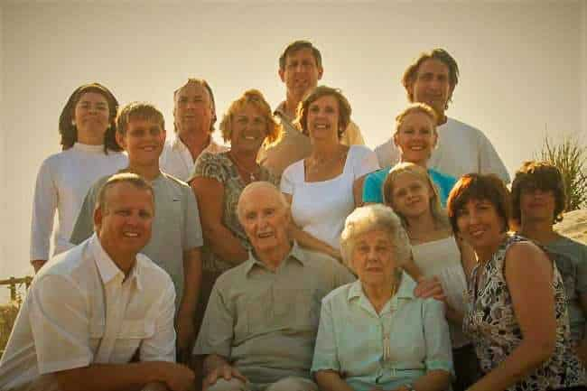 Multiple generation family photo with all the grandparents