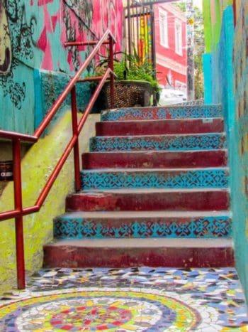 Valparaiso street art mixed media steps